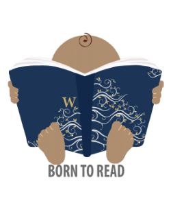 WSD born to read logo: baby holding a book