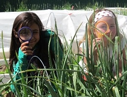 two girls using magnifying glasses
